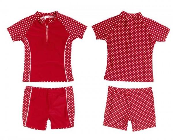 UV Schutz Anzug Mädchen Set Shirt + Shorts rot mit Punkten