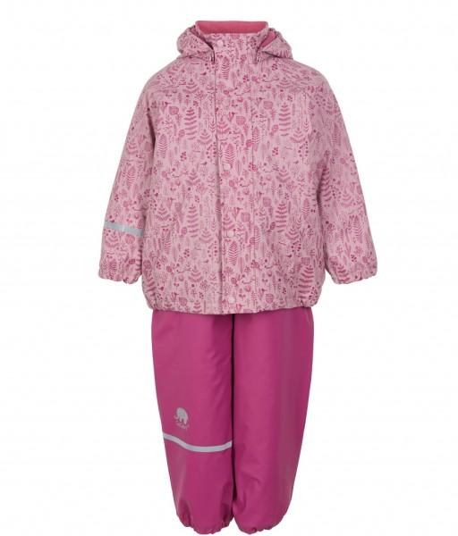 CeLaVi Mädchen Thermo Regenanzug Blätter rosa/pink