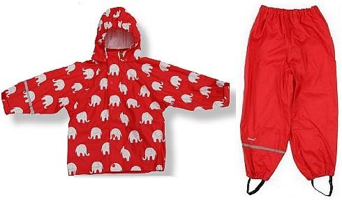 CeLaVi Regenanzug rot / weiß Elefanten Set Regenhose + Regenjacke