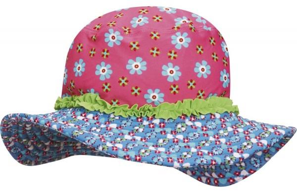UV-Schutz Mädchen Strandhut Blumen pink/bleu Flapper