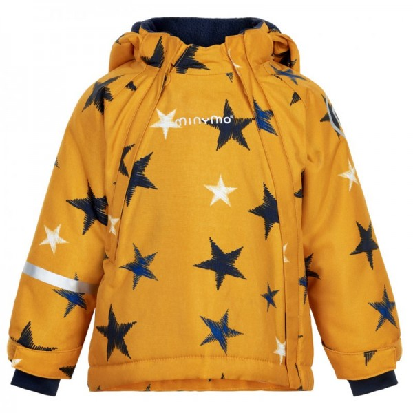 Minymo Winterjacke golden yellow Stars wasserdicht Doppelzipper