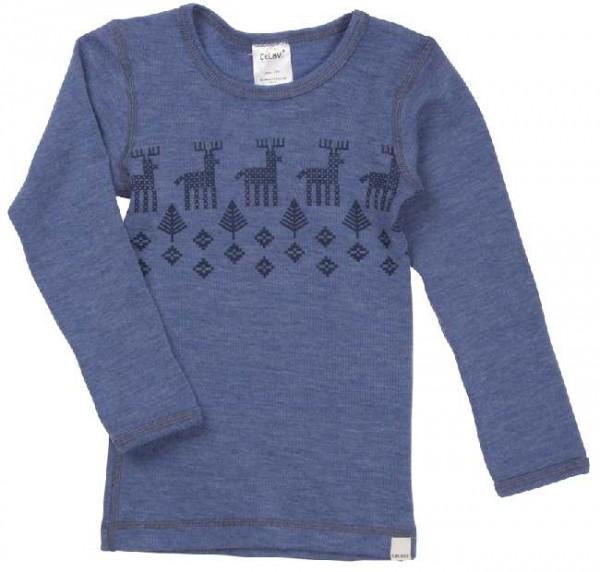 Celavi Langarmshirt blau melange Elch Unterhemd Wolle
