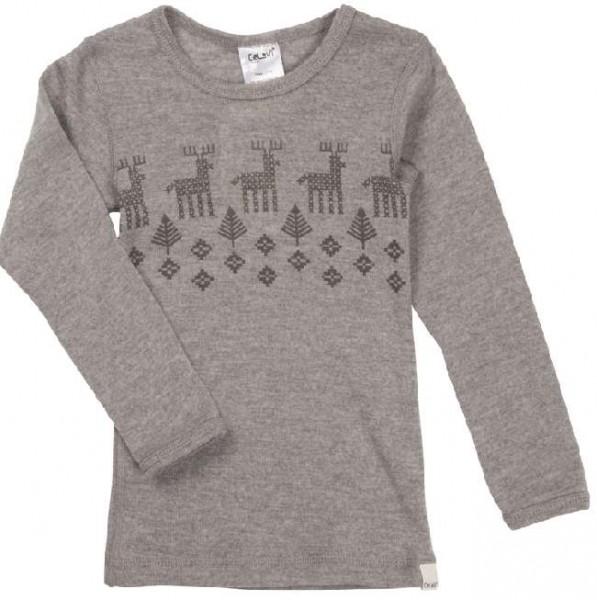 Celavi Langarmshirt grau melange Elch Unterhemd Wolle