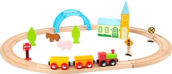 Holzeisenbahn Set Stadt + Land 24tlg. mit Schienen und Zug