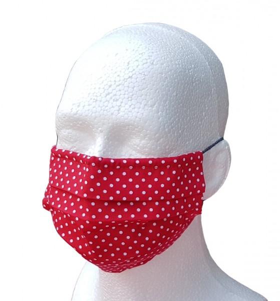 Mund-Nasen-Maske für Erwachsene rot/weiß Pünktchen