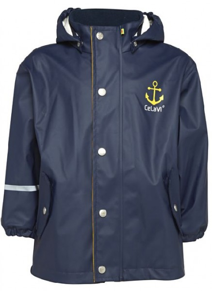 CeLaVi Kinder Regenjacke mit Baumwollfutter navy Anker
