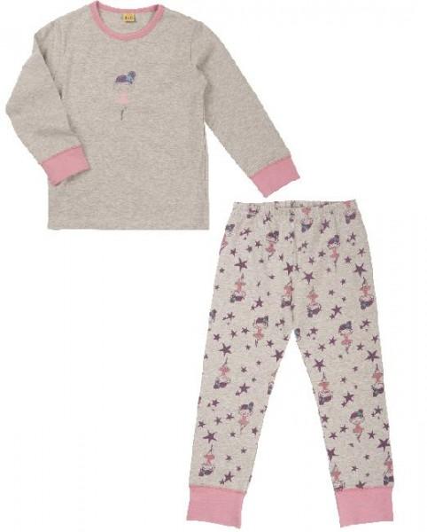 Celavi Mädchen Schlafanzug Pyjama 2 Teiler grau Ballerina