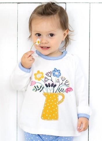 Mädchen Langarmshirt Blumen offwhite aus Bio Baumwolle (GOTS)