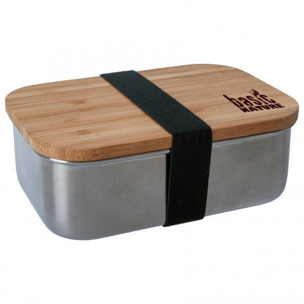 Basic Nature Brotdose Frühstücksbox Edelstahl mit Bambus + Gummiband