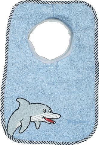 Baby Frottee Schlupflätzchen hellblau mit Delfin