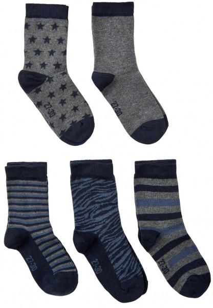 Minymo Kinder Socken 5er Sparpack grau/blau