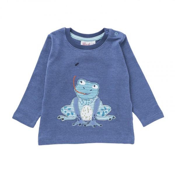 Baby Langarmshirt Frosch Biobaumwolle jeansblau
