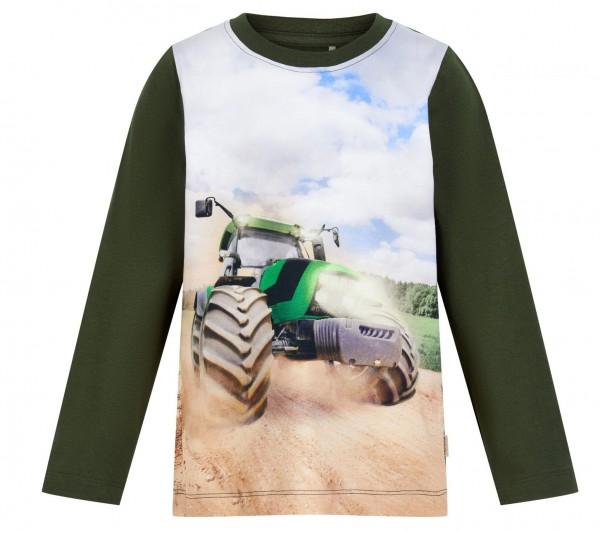 Minymo Traktor Shirt oliv/grün Langarm für Kinder
