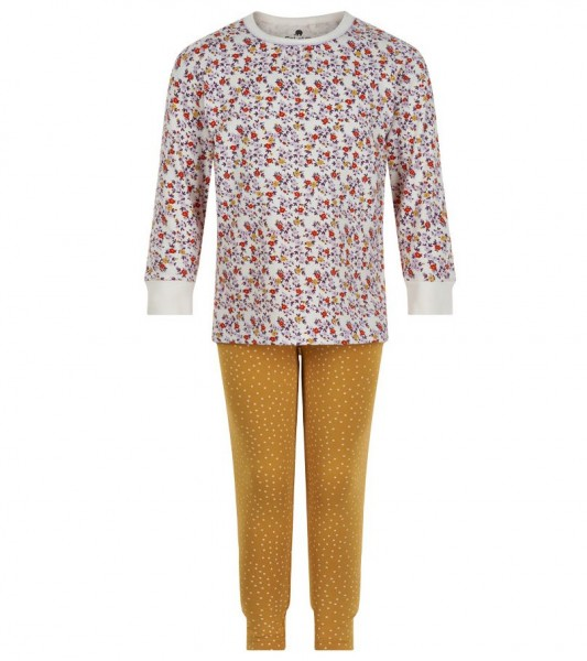 Celavi Mädchen Schlafanzug Flowers + Dots maisgelb